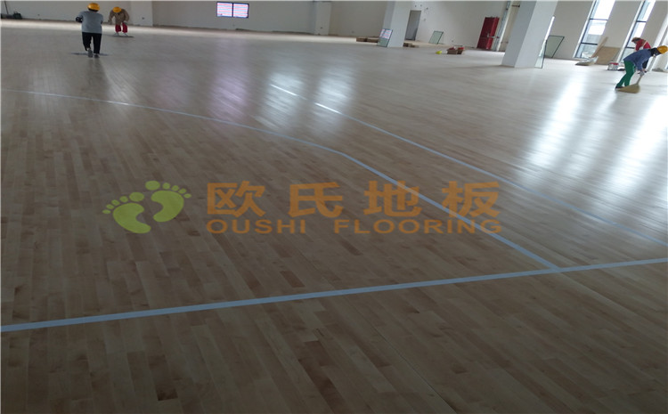 冮苏宿迁项里学校篮球馆木地板案例—欧氏送彩金38满100提现厂家