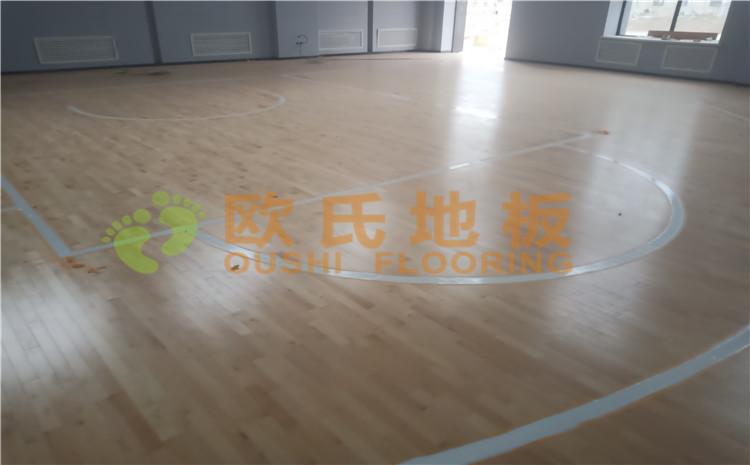 新疆沙雅县顺北油田篮球馆木地板案例—欧氏运动木地板厂家
