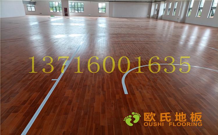 江苏宿迁运河路学校体育馆木地板案例-欧氏实木运动地板厂家